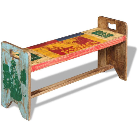 Solid Reclaimed Wood Cola Bench - 100x30x50 cm