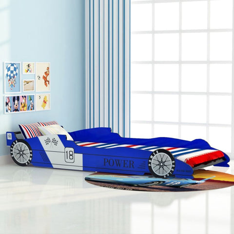 Blue Children's Race Car Bed - 90x200 cm