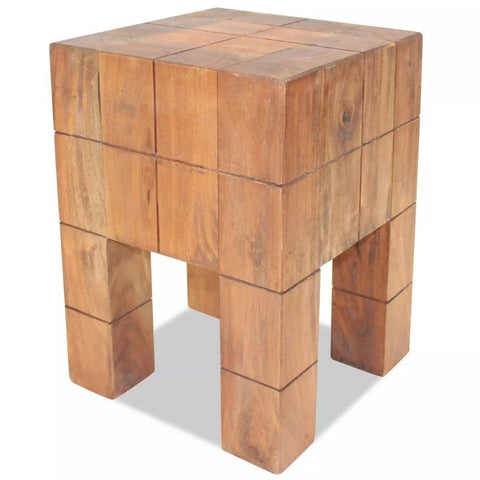 Solid Reclaimed Wood Stool - 28x28x40 cm