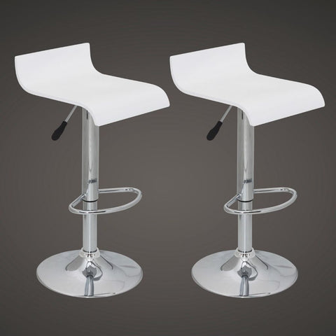 Set of 2 White Wooden Low Back Bar Stools