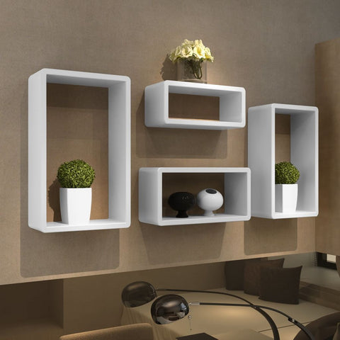 White Cuboid Shelf Set of 4