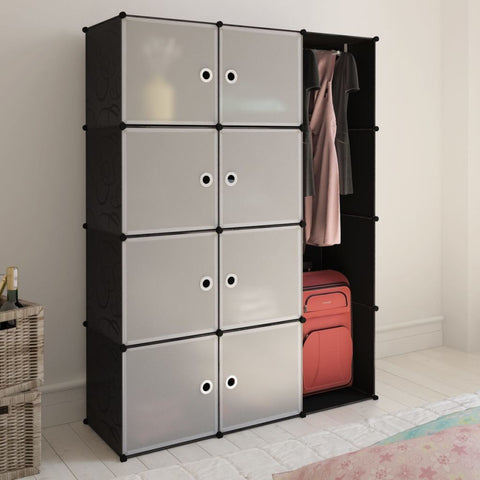 Black and White Modular Cabinet - 9 Compartments