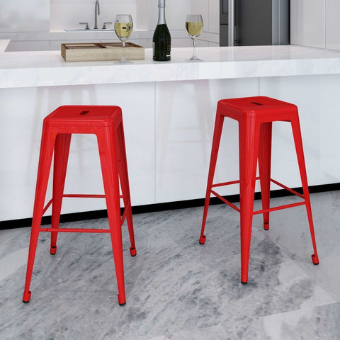 Set of 2 Square Red Bar Stools