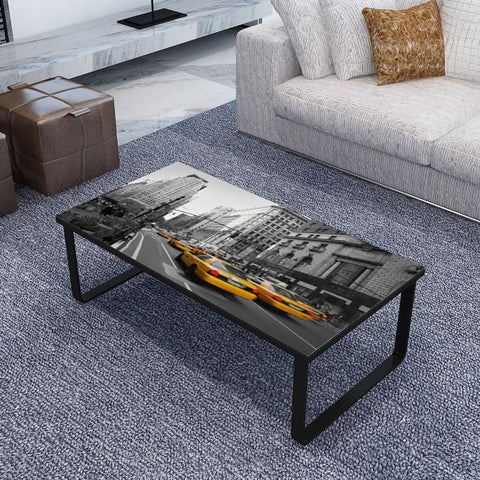 New York City Rectangular Glass Coffee Table