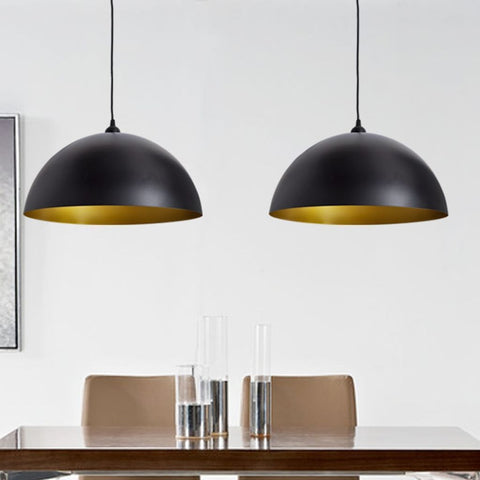Set of 2 Black Semi-spherical Ceiling Lamps