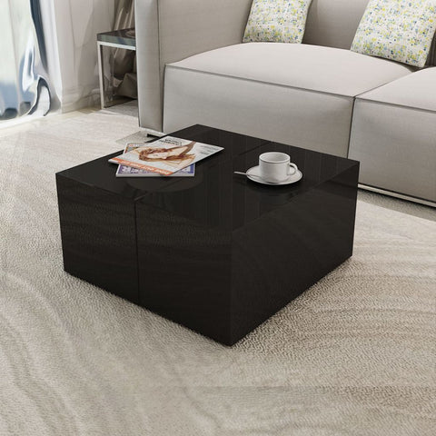 Black High Gloss Storage Coffee Table