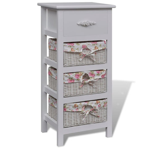 White Cabinet with 1 Drawer and 3 Baskets