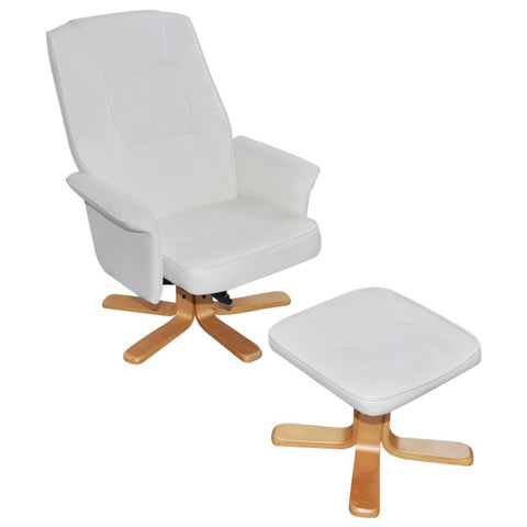 White Leather TV Armchair with Foot Stool