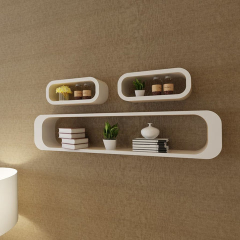 3 White Floating Wall Display Shelves