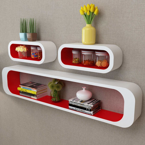 3 White & Red Floating Wall Display Shelves