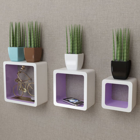 3 White & Purple Floating Wall Display Shelves