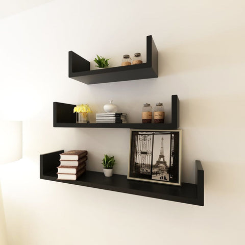 3 Black U-shaped Floating Wall Display Shelves