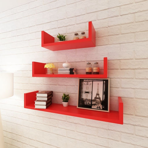 3 Red U-shaped Floating Wall Display Shelves