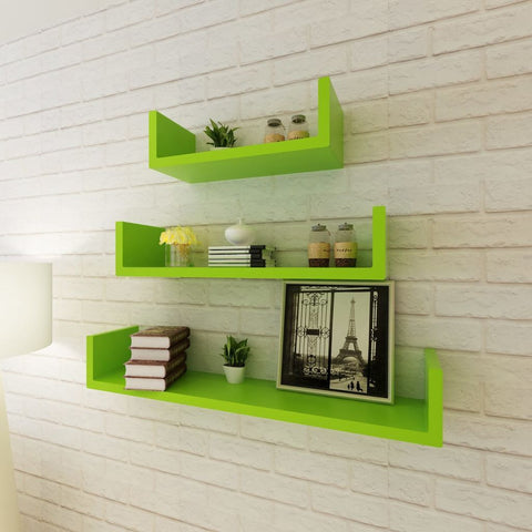 3 Green U-shaped Floating Wall Display Shelves