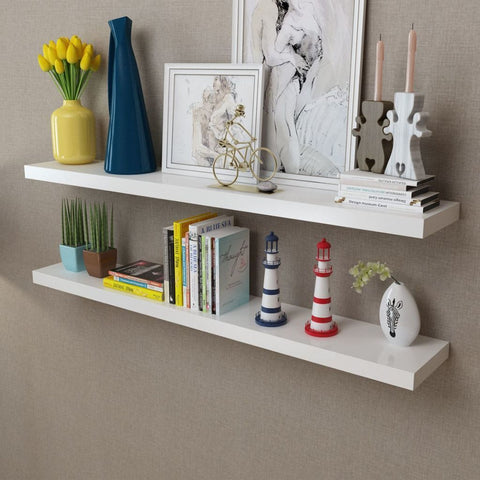 2 White Floating Wall Display Shelves
