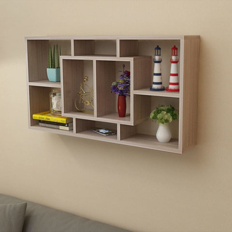 Oak Floating Wall Display Shelf - 8 Compartments