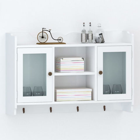 White Display Wall Cabinet with Hooks