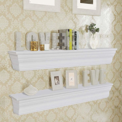 2 White Wall Shelves