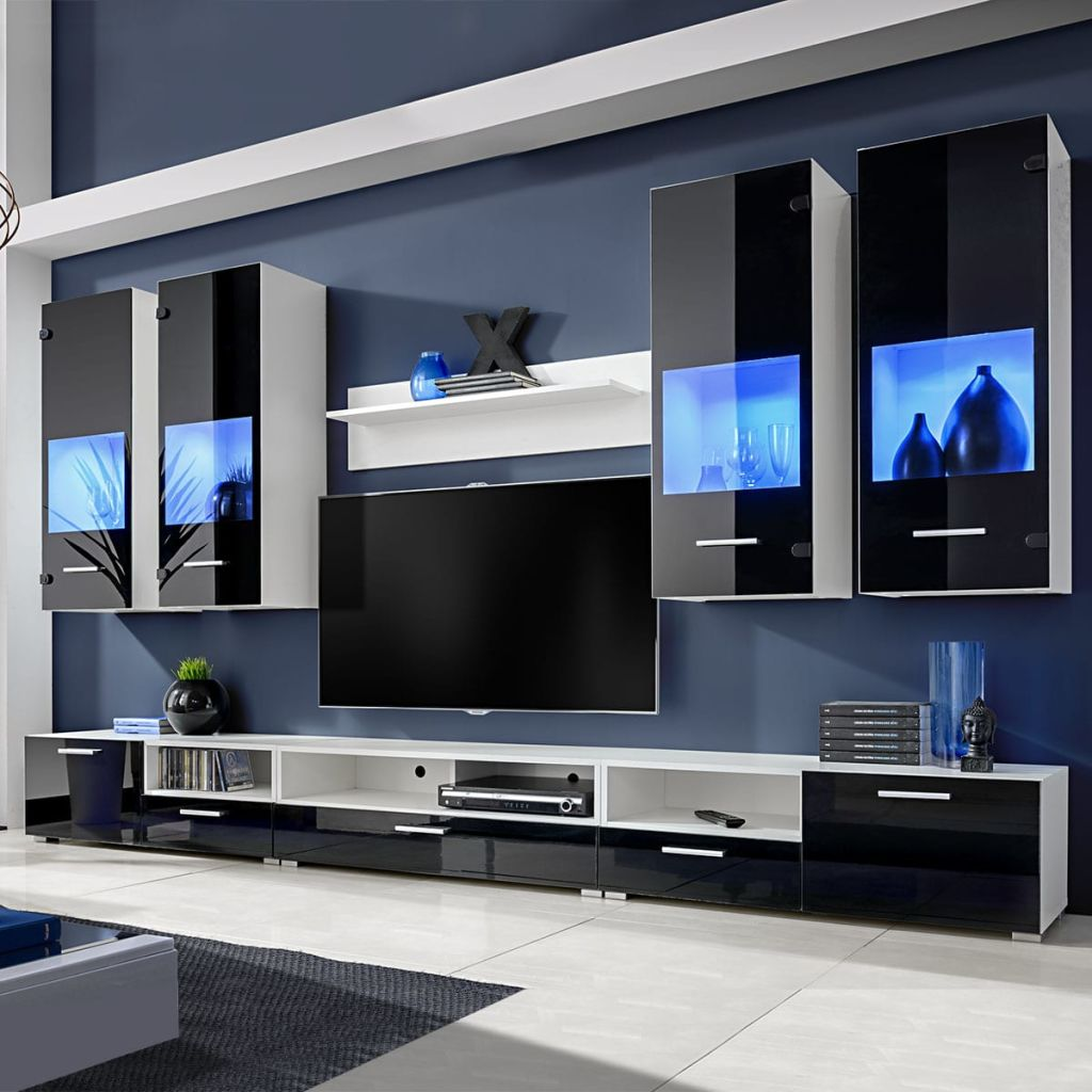 watch 0f370 24e0f Black High Gloss Wall TV Unit with LED Lights