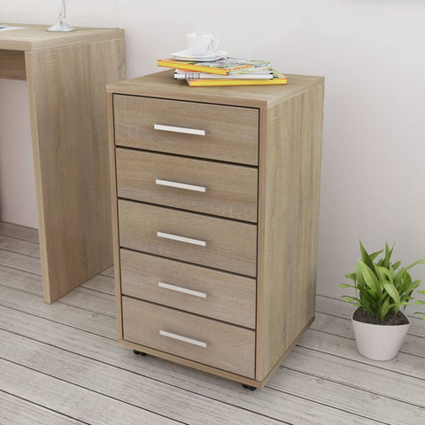 5 Drawers Oak Drawer Unit with Castors