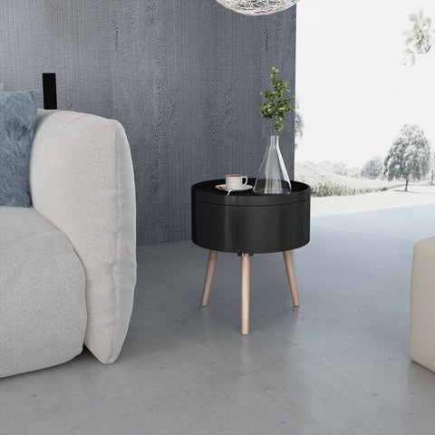 Black Round Side Table with Serving Tray