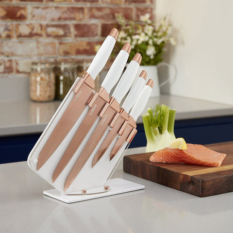 White & Copper 5 Piece Knife Set & Stand