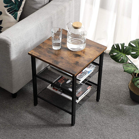 Set of 2 Rustic Brown Industrial Bedside Tables