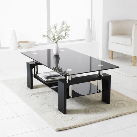 Black Rectangle Glass & Chrome Living Room Table