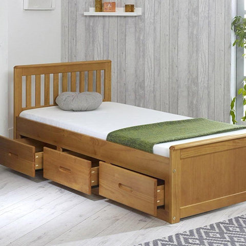 Single Honey Bed Frame with 3 Storage Drawers