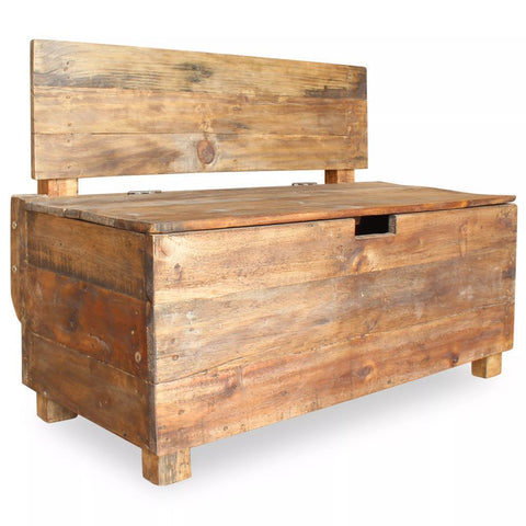 Solid Reclaimed Wood Storage Bench