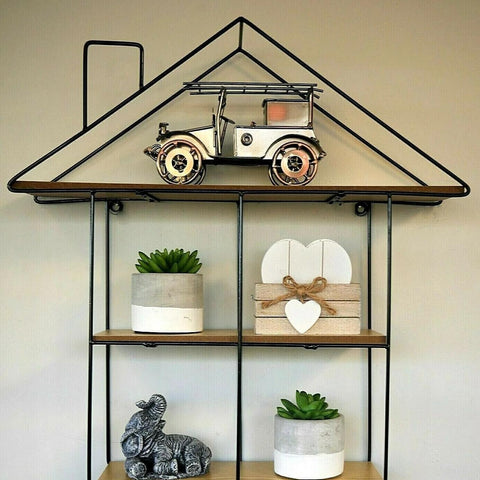 Metal Floating House Wall Shelves