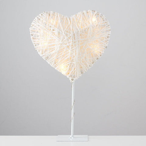 Battery Powered Twine Heart Lamp