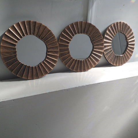 3pc Bronze Ora Mirror Set