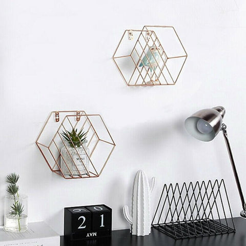 Set of 2 Gold Hexagon Shelves