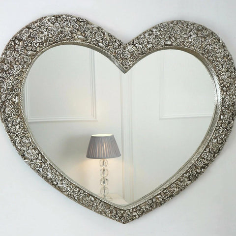 Large Silver Rose Heart Mirror