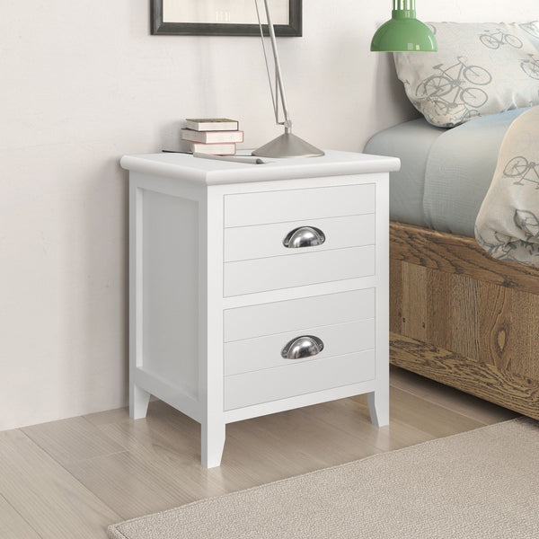 2 White Contrast Bedside Tables