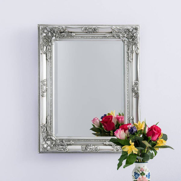 Silver Wall Mounted Ornate Mirror
