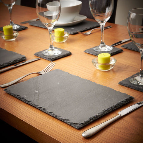 8pcs Natural Slate Placemats & Coaster Set