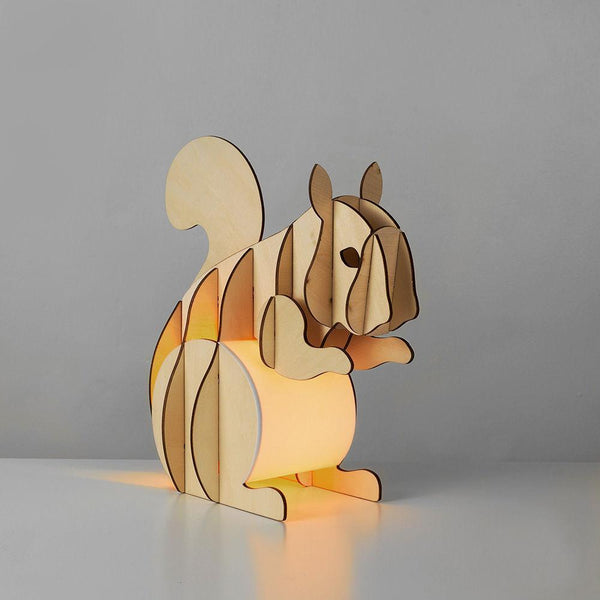 Squirrel Wooden Table Lamp