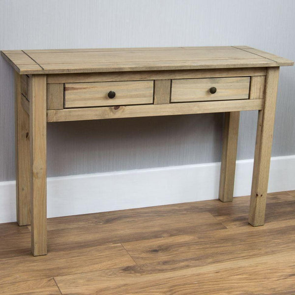 Natural Waxed Pine Console Table