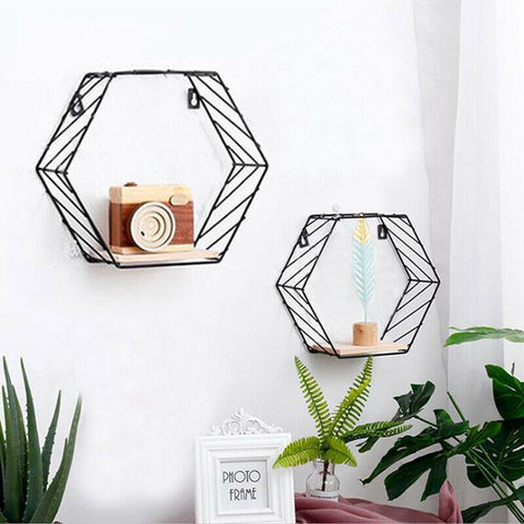 Set of 2 Stripe Hexagon Shelves