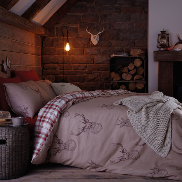 Red Check Stag Double Duvet