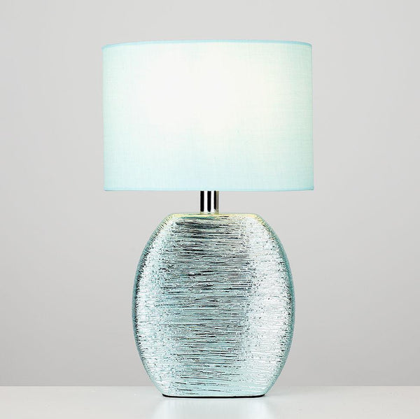 Duck Egg Blue Metallic Ceramic Lamp