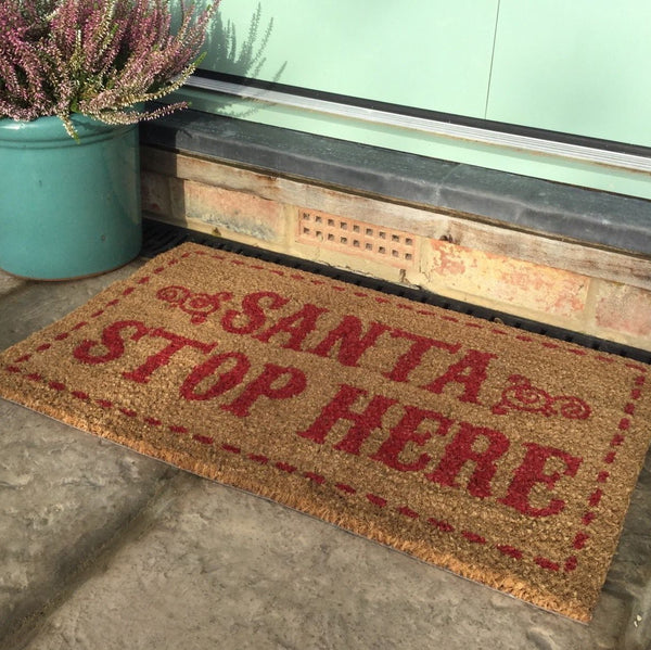 Santa Stop Here Door Mat