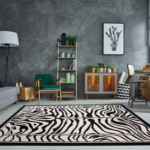 Black & White Zebra Stripe Rug