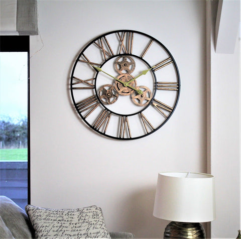Black & Gold Gear Wall Clock