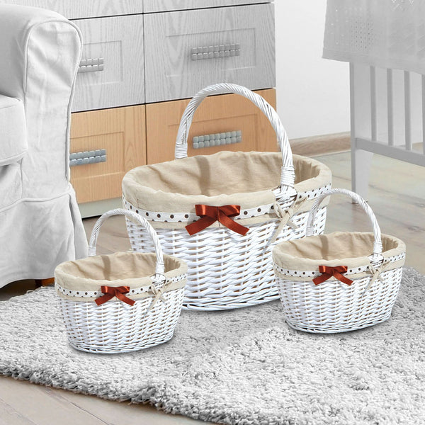 Set of 3 White Wicker Baskets