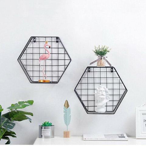 Set of 2 Grid Hexagon Shelves