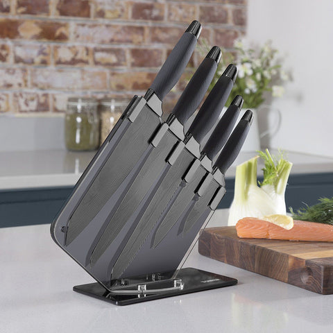 5pc Black Knife Set & Block