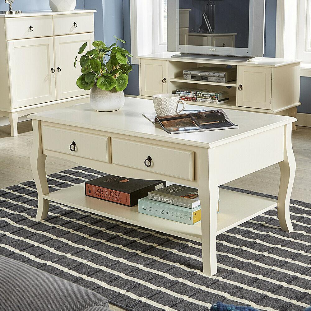 - 2 Drawer Cream Coffee Table – Novielo London